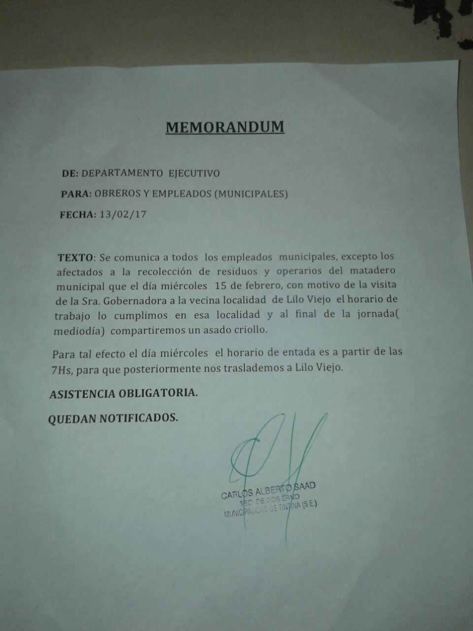 memorandum tintina